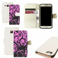 pu leather wallet case for majority Mobile phones - pink enetanglement white