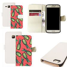 pu leather wallet case for majority Mobile phones - pink pineapple white