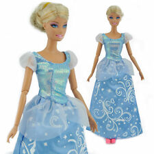 Handmade Outfit Gown Wedding Dress Blue Clothes for Barbie Cinderella Doll S