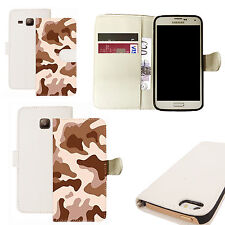 pu leather wallet case for majority Mobile phones - desert cammy white
