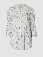 PER UNA SWALLOW & LEAF PRINT BLOUSE SIZE 10 NEW ROLL SLEEVE IVORY BIRD TOP