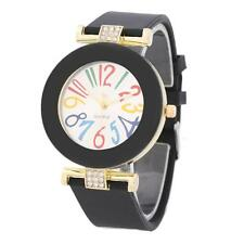 Fashion Vintage Big Dial with Rhinestone Watch Silicone Strap Watch Quartz Watch