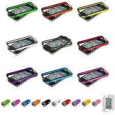 For iPhone 4 4S TPU Bumper Frame Case Skin Metal Buttons+Car Charger+LCD