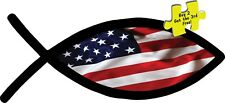 USA American Christian Fish Flag Liberty Decal/Sticker Made in America