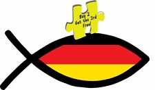 Jesus Fish Christian Flag Germany Fish Flag Decal/Sticker # 607