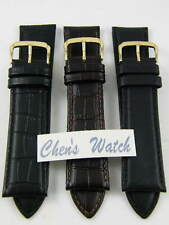 HQ 23MM BLACK BROWN ITALY LEATHER WATCH BAND 23 MM CROC GRAIN STRAP w/20MM CLASP