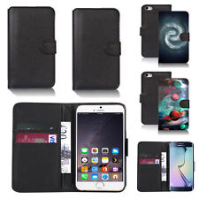 black pu leather wallet case cover for many mobiles design ref q558