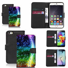 pu leather wallet case for many Mobile phones - rainbow bubbles