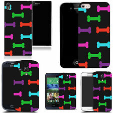gel case cover for many mobiles  - multi coloured bones silicone