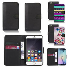 black pu leather wallet case cover for many mobiles design ref q597