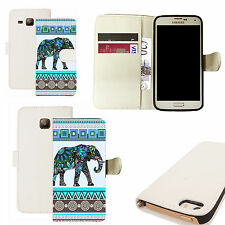 pu leather wallet case for majority Mobile phones - blue elepant white