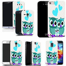 gel case cover for many mobiles  - love owls blue silicone