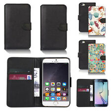 black pu leather wallet case cover for many mobiles design ref q644