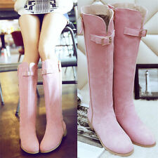 New Womens Suede Leather Knee High Boots Flat Heel Round Toe Winter Long Boots