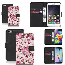 pu leather wallet case for many Mobile phones - traditional floral