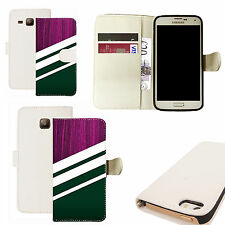 pu leather wallet case for majority Mobile phones -purple timber white