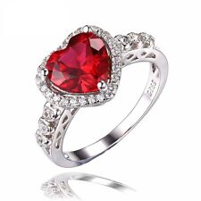 3CT Red Heart Shape Gold Plated Pure Solid 925 Sterling Silver Ring Jewelry