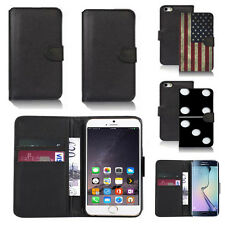 black pu leather wallet case cover for many mobiles design ref q752