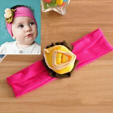 Stretch Headwear Kid Baby Girl Flower Headband Solid Color Hairband Accessories