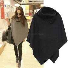 Women Autumn Winter Batwing Poncho Cardigan Coat Jacket Loose Cloak Cape Parka