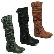 WOMENS LADIES CASUAL FLAT MID CALF SLOUCH BUCKLE FASHION BOOTS SHOES SIZE 3-8