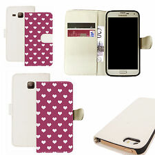 pu leather wallet case for majority Mobile phones - white populous heart