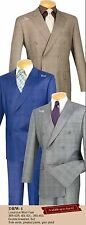 Men's Dress Suit Double Breasted 6 Buttons Glen Plaid DRW-1 gray tan blue