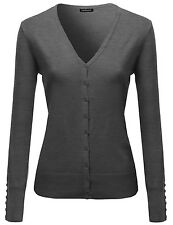 FashionOutfit Women Basic Solid V Neck Cuff Button Sweater Cardigan Layer Top