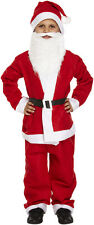 CHILD KIDS SANTA SUIT WITH BEARD FATHER CHRISTMAS FANCY DRESS BOYS COSTUME LARGE