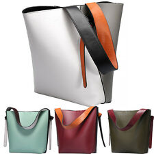 Women Double Color Stitching Genuine Leather Bucket Handbag Wide Strap Tote Bag