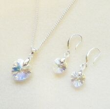 Swarovski Clear AB Crystal Love heart Pendant Necklace / Earrings / SET silver