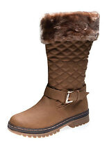 New Womens Ladies Black Quilted Buckle Faux Fur Snow Winter Boots 3 4 5 6 7 8UK