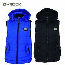 Mens Hooded Bodywarmer Padded Gilet Detachable Hood Sleeveless Winter Top New