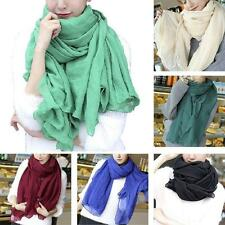 Women Long Cotton Linen Large Scarf Lady Girls Wrap Shawl Stole Scarves 12Colors