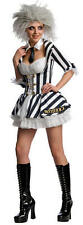 Ladies Halloween Miss Beetlejuice sexy dressing up costume & wig party adult