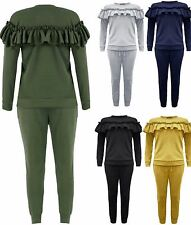 New Ladies Long Sleeve Frill Detail Top And Jogger Lounge Wear Women Suit Set