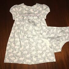 NWT 3-6 6-12M or 18-24M Mini Boden Gray Bunny Dress w/  Bloomers FREE Ship