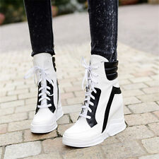 High Top Trainers Womens Sneakers Lace Up Punk Boots Platform Wedge Heels Shoes