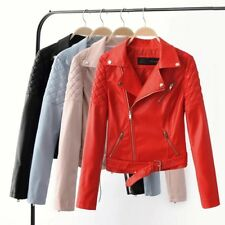 Womens Slim Soft Faux Leather Zipper Up Motorcycle Biker Bomber Jacket Coat SML