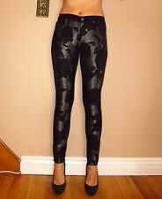 $265 Seven 7 For All Mankind Black Floral Grey Shantung Skinny Pants Jeans 25-27