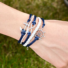 Infinity Anchor Compass Courage Bracelets Charm Friendship Leather