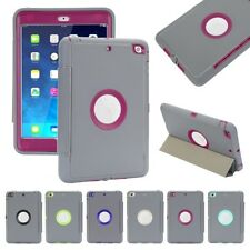 Gray 360 Shockproof Hard Case & Magnetic Smart Cover for Apple iPad mini 1 2 3 4