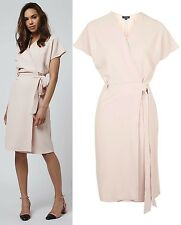 TOPSHOP Wrap Midi Dress in Nude Size 6 to 16