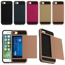 Hard Hybrid Armor Case Cover With Slide Card Slot Holder For iPhone 6 6S 7 7Plus