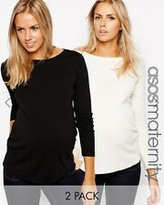 ASOS Maternity Crew Neck Top with Long Sleeves 2 Pack All sizes look