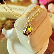 Fashion Gold Plated Sweater Chain Shiny Crystal Ballet Girl Pendants Necklaces