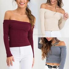 Sexy Women Off Shoulder Knitted Sweater Crop Top Autumn Jumper Knitwear Pullover