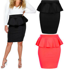 Womens Peplum Frill Pencil Bodycon Knee Length Skirt Plus Size 16 18 20 22 24