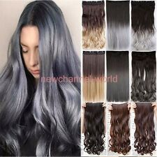 Women Real Thick One Piece Long as Remy Wavy Clip In On Hair Extensions Straight
