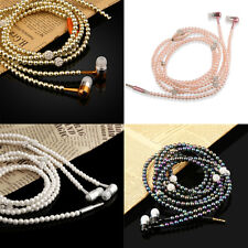 3.5mm Jack Pearl Necklace Earphone In-Ear Headset For Cell iPhone Phone MP3 MP4